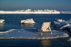 Chaise lounge on an ice floe Royalty Free Stock Photography