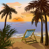 Chaise lounge, palms and sunset on the sea Royalty Free Stock Photos