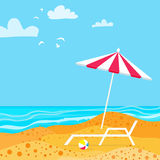 Chaise Lounge with Parasol umbrella. Ocean. Summer resort vacation background. Royalty Free Stock Photos