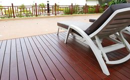 Chaise Lounge patio. Patio with chaise lounges near luxury hotel stock photography