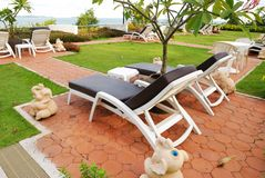 Chaise Lounge patio. Patio with chaise lounges near luxury hotel stock photo