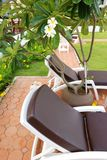 Chaise Lounge patio. Patio with chaise lounges near luxury hotel stock image