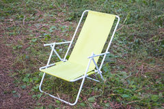 Chaise lounge for relaxing. Folding chair - chaise lounge for relaxing in in camping stock photo