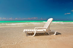 Chaise lounge at the sea Royalty Free Stock Photos