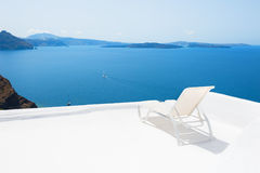 Chaise lounge on the terrace with sea view Stock Photo