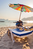 Chaise lounge on a tropical beach Royalty Free Stock Photos