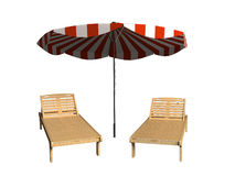Chaise lounges. The image of chaise lounges and umbrella on a white background Royalty Free Stock Photo
