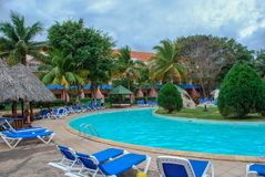 Hotel pool without people in the tropics stock photo