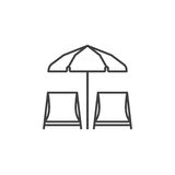 Chaise Lounges and Sun Umbrella. Chaise lounge icon. Beach chaise-lounges and umbrella vector illustration in thin line design Stock Photos