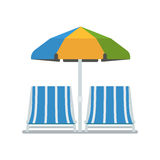 Chaise Lounges and Sun Umbrella Stock Photo