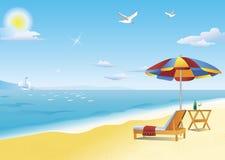 Chaise loungue, beach table and beach umbrella. Chaise lounge, beach table and beach umbrella by the sea. Hot summer sun illuminates brilliant blue sky and Stock Illustration
