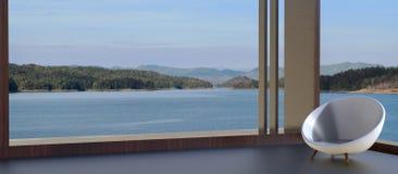 Chaise moderne et belle vue de lac l'été Image stock