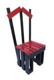 Chaise rouge en bois d'isolement sur le fond blanc Photo libre de droits