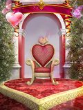 Chaise rouge en forme de coeur Photos stock