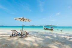 Chaise sur la plage Image libre de droits