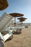 Chaise van het strand zitkamer Stock Afbeeldingen