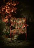 Chaise vide antique avec le modèle et l'usine colorés Photo libre de droits