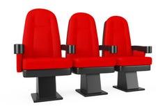 Chaises confortables de salle de cinéma rouge de cinéma rendu 3d illustration libre de droits