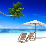 Chaises de plate-forme sur une plage tropicale Image libre de droits