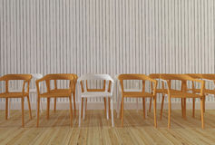 Chaises en bois avec le rendu en bois du mur background-3d Photo stock