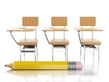 chaises et crayon de l'école 3d réserve vieux d'isolement par éducation de concept Photo stock