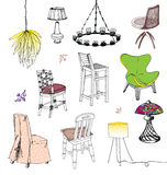 Chaises et lampes Illustration Stock