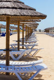 Chaises et parasols de Sun Photo stock