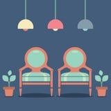 Chaises intérieures de vintage de conception plate Photo libre de droits