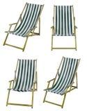Chaises longues d'isolement sur le blanc avec le chemin de coupure Image stock
