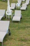 Chaises longues sur le plan rapproché de pelouse vertical Photographie stock