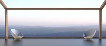 Chaises modernes et vues de la belle montagne pendant le matin Photographie stock libre de droits