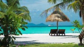 Chaises, parapluie et paumes de plage sur la plage Regard rêveur Koh Lipe Island, Thaïlande, Asie banque de vidéos