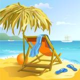 Chaisevardagsrum på stranden royaltyfri illustrationer