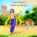 Chaitanya Mahaprabhu en la dedicación de Lord Krishna para el festival feliz de Janmashtami de la India stock de ilustración