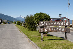 Chaiten Town Sign - Chile. Chaiten Town Sign in Chile Stock Photos