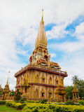 Chaithararam Temple Wat Chalong at Phuket Thailand. White sky Chaithararam Temple Wat Chalong at Phuket Thailand Stock Images
