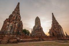 Chaiwattanaram temple. In the evening Ayutthaya Thailand Royalty Free Stock Photography