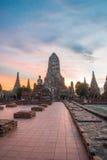 Chaiwattanaram temple. In the evening ,Ayutthaya ,Thailand Royalty Free Stock Photography
