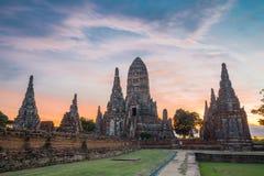 Chaiwattanaram temple. In the evening ,Ayutthaya ,Thailand Stock Photos