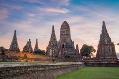Chaiwattanaram temple. In the evening ,Ayutthaya ,Thailand Royalty Free Stock Photo