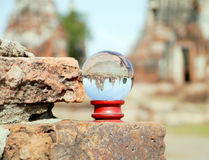 Chaiwattanaram temple  in glass ball. Chaiwattanaram temple  ayutthaya province thailand in glass ball Royalty Free Stock Photography