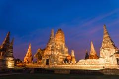 Chaiwattanaram temple. In the night ,Ayutthaya ,Thailand Stock Photo