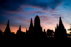 Chaiwattanaram temple. Silhouette of Chaiwattanaram temple ,Ayutthaya ,Thailand Royalty Free Stock Photography