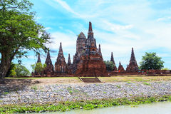 Chaiwatthanaram temple at Ayutthaya in Thailand. And most famous for tourist take photo from the river Royalty Free Stock Images