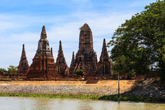 Chaiwatthanaram temple at Ayutthaya in Thailand. And most famous for tourist take photo from the river Royalty Free Stock Photos