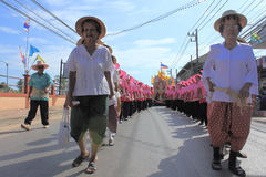 Chak Phra Festivals. SURAT THANI, THAILAND - OCTOBER 31 : Unidentified people participate at the parade of Tak Bat Devo and Chak Phra Festivals on October 31 stock photos