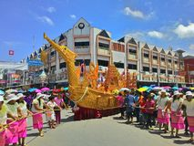 Chak Pra Festival Suratthani Thailand stock foto's