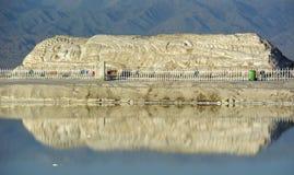 Chaka盐湖雕刻 库存照片