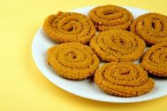 Chakali или Murukku, закуски индийские традиционные Diwali стоковое изображение rf