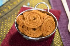 Chakali Snack. Indian Fried And Salty Food Chakali Snack stock image